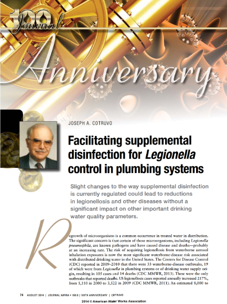 Article on Facilitating supplemental disinfection for legionella control in plumbing systems - 201408