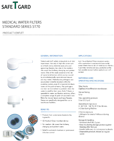 Product Datasheet Medical Water Filters - ST70
